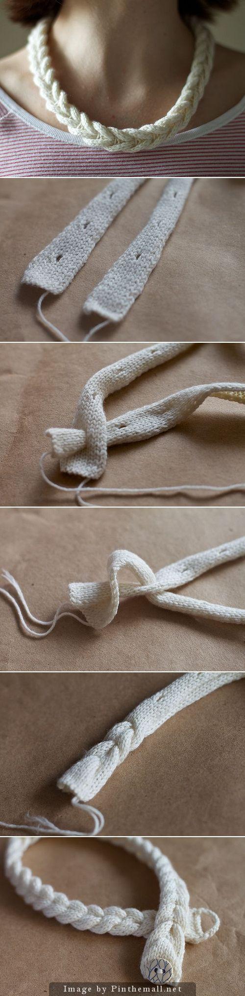 Diy Crafts Ideas : Knitulator sucht #Strickschmuck: #Zopfkette Gestrickte Halskette