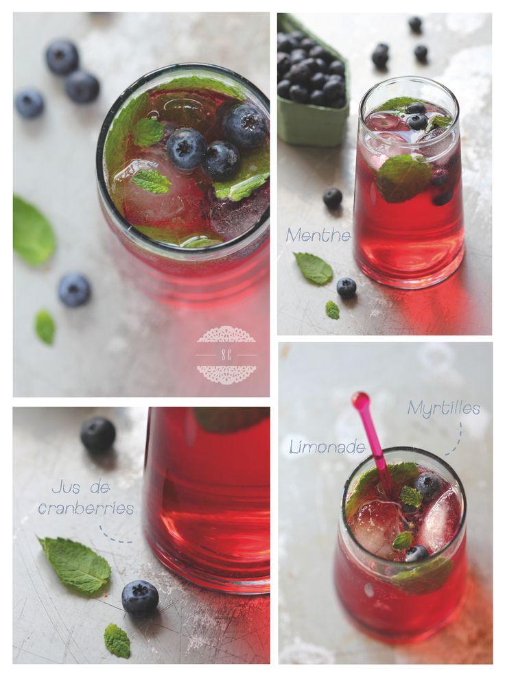 Cocktail sans alcool givré et fruité 110 gr de jus de cranberries . 150 gr de limonade . 1 c. à café de Pulco citron (ou jus d'1/2 citron vert) . 5 feuilles de menthe . quelques myrtilles . quelques glaçons