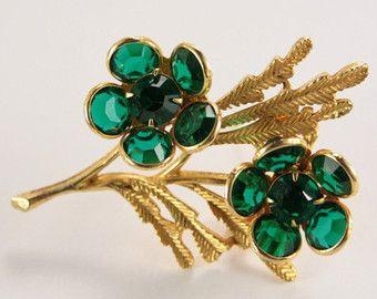 Vintage groene broche bruids boeket broche Sash Pin Elfen sieraden Pin tuinman Gift jaren 1950 unieke duur cadeau voor haar exclusieve juwelen