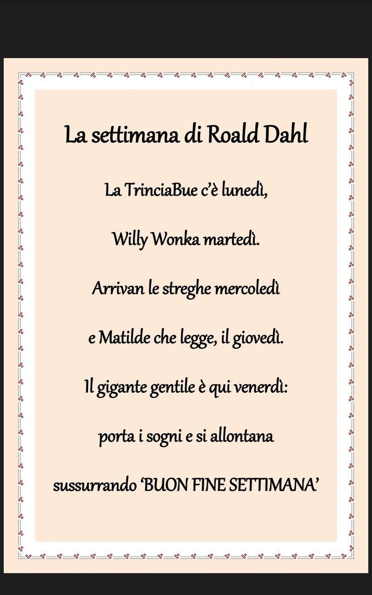 Filastrocca giorni della settimana Roald Dahl scuola infanzia. Willy Wonka e la fabbrica di cioccolato, Matilda, il GGG. Le rime di Betty