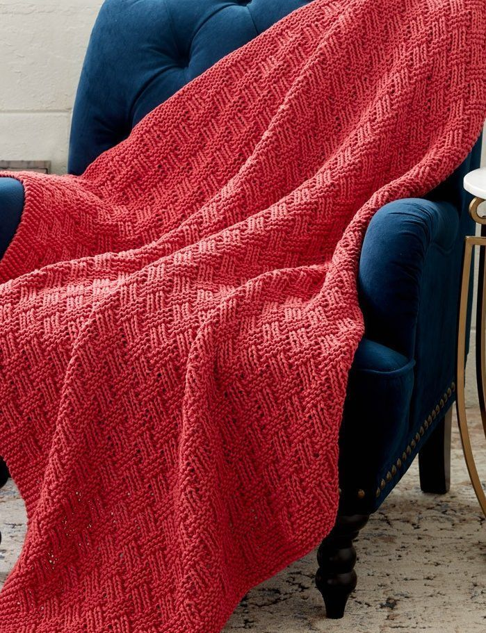 Free Knitting Pattern for Parquet Blanket - Easy basketweave afghan from Bernat is a quick knit in bulky yarn