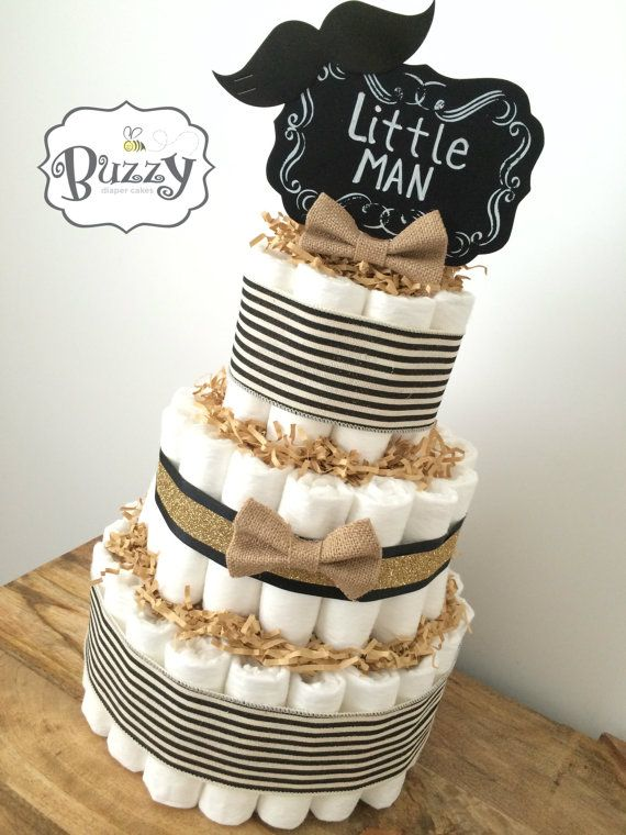 Little Man Diaper Cake for Boy Baby Shower by BuzzyDiaperCakes