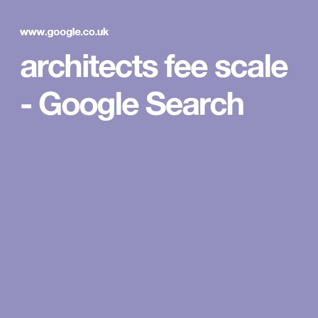 architects fee scale - Google Search