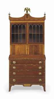 A FEDERAL INLAID MAHOGANY SECRETARY BOOKCASE PORTSMOUTH, NEW HAMPSHIRE,  1790 1810 84 In