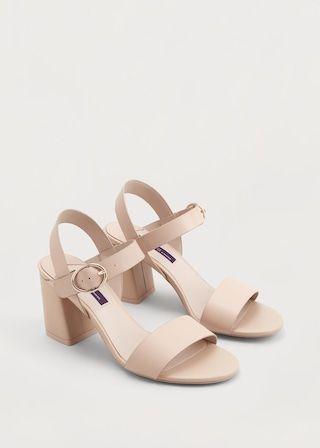 Sandalia piel tacón  - Zapatos  Tallas grandes   Violeta by MANGO España