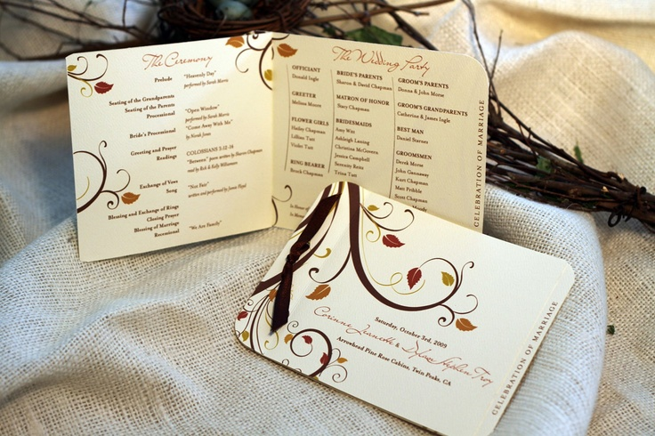images about Wedding Programs on Pinterest Fall