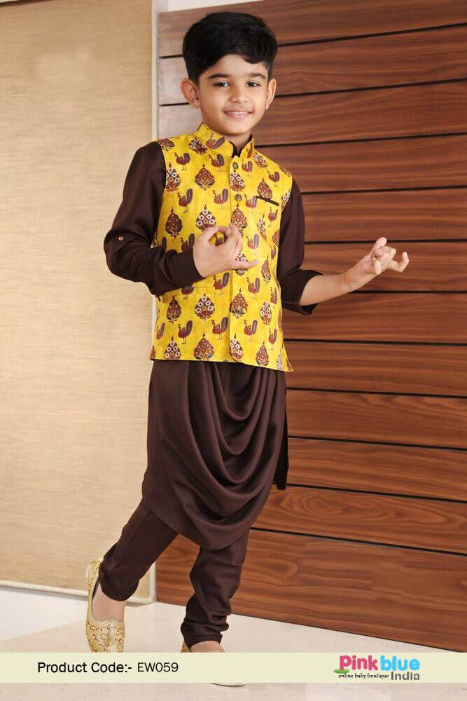 be14c7a7731cc Trendy Brown Kids Kurta and Churidar Pajama with Silk Nehru Jacket | Baby  Boys Indian Ethnic