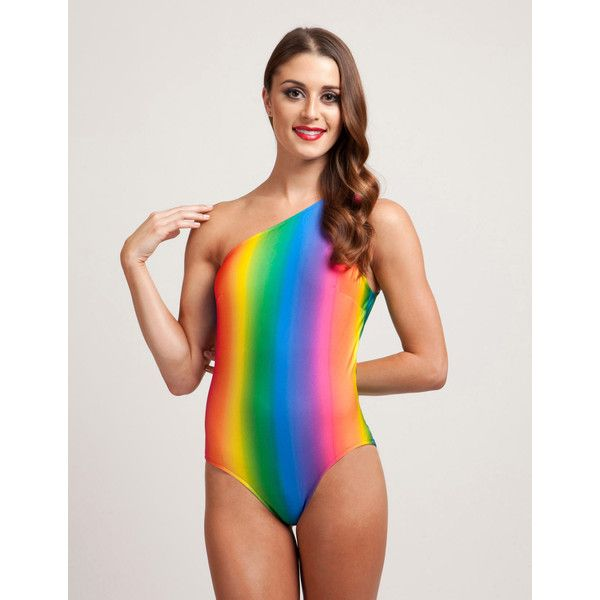 Rainbow Brite One Piece Assymetrical Bathing Suit ($60) ❤ liked on Polyvore featuring swimwear, one-piece swimsuits, silver, women's clothing, swimsuit swimwear, swimming costumes, swim suits, bathing suit swimwear and one-piece swimwear
