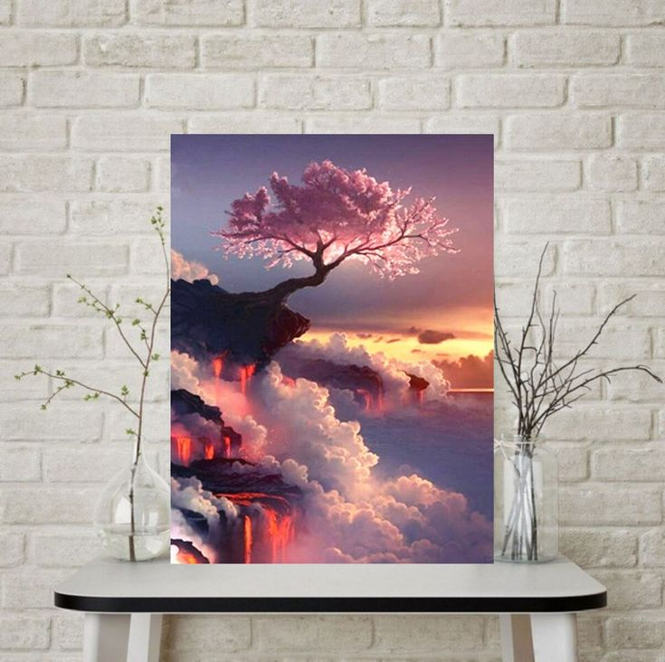 Pink Canvas Painting Trees On The Cliff Poster And Prints Painting Sunrise Wall Art Pictures For Home Liv In 2020 Tree Painting Canvas Wall Art Pictures Tree Painting