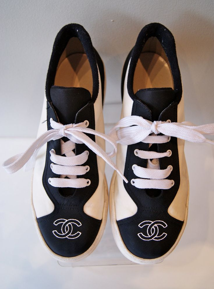 Vintage Chanel Ladies Sneakers Tennis Shoes Black and White Authentic Logo Size 8. $98.00, via Etsy.