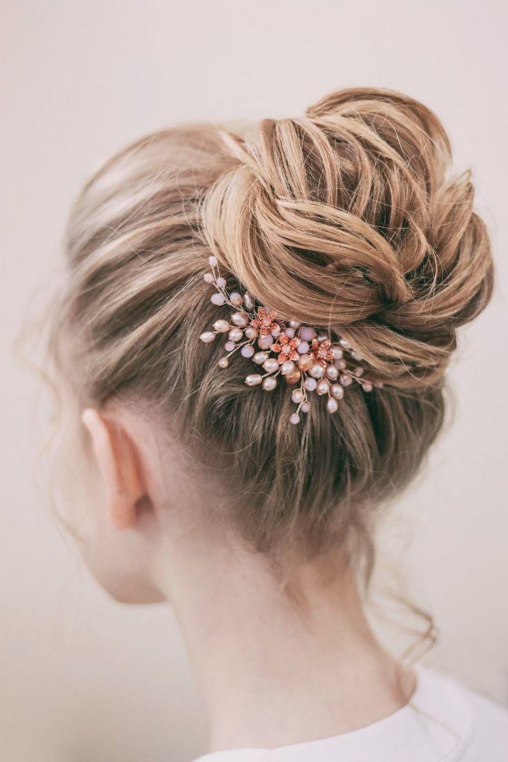 Bridal rose gold hair comb, Pearl blush hair piece, Wedding pink headpiece, Floral hairpiece, Peach haircomb, Bride jewel