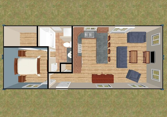 ... sq ft two 40' Shipping Container House Floor Plan Concept 3D Top View