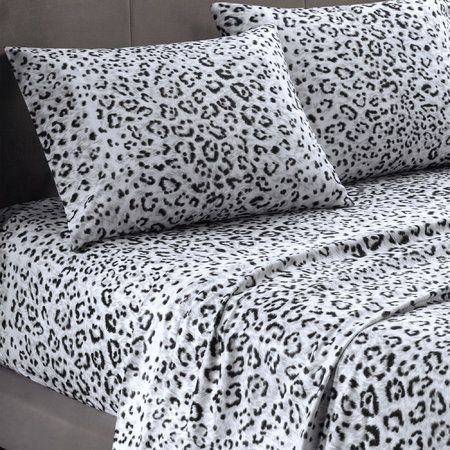 Soft snow leopard bed sheets :) These look so comfy. Want!