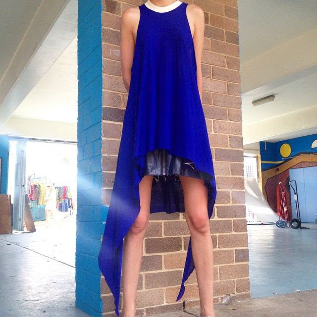 Midnight blue organic cotton top and leather and silk skirt