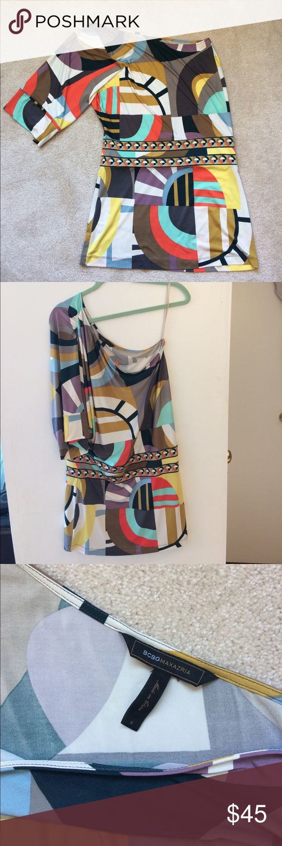 BCBG one shoulder dress BCBG one-shoulder dress size small. In great condition! Cure flattering cut. Geometric patterns. Great for a night out or wedding! BCBG Dresses Midi