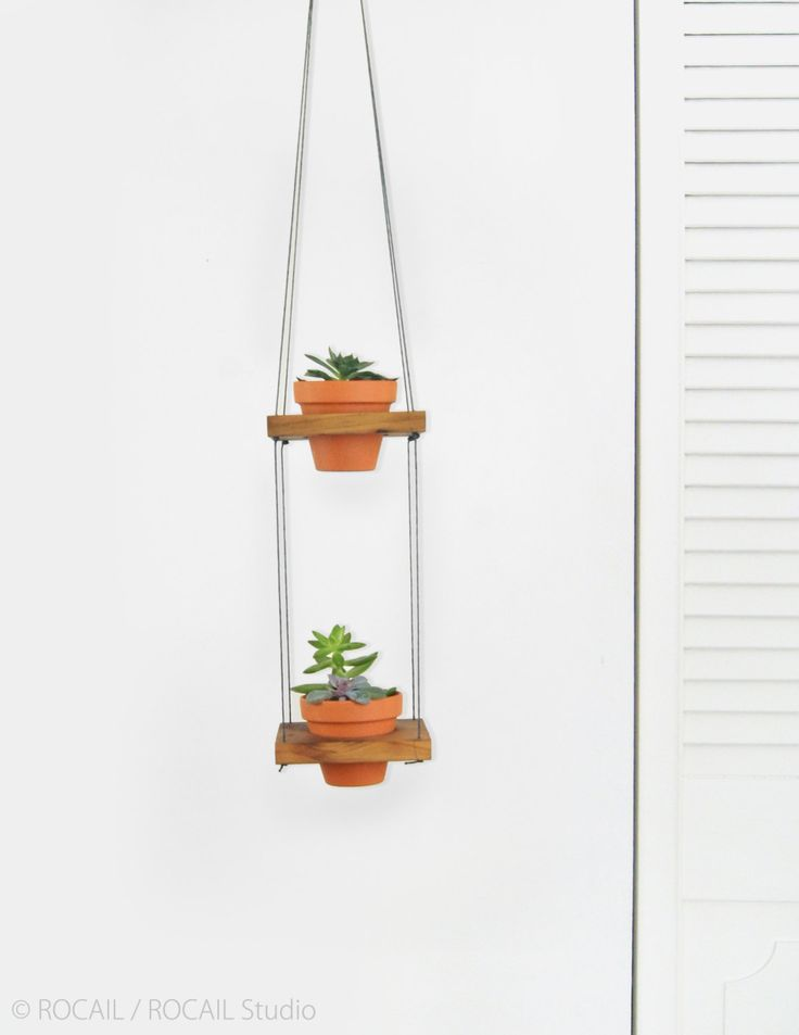 Small Reclaimed Wood and Terracotta Hanging Planters | Modern Macrame Planter Duo | Pair of 2 Hanging Plant Pots in Gray and Burnt Orange by RocailStudio on Etsy