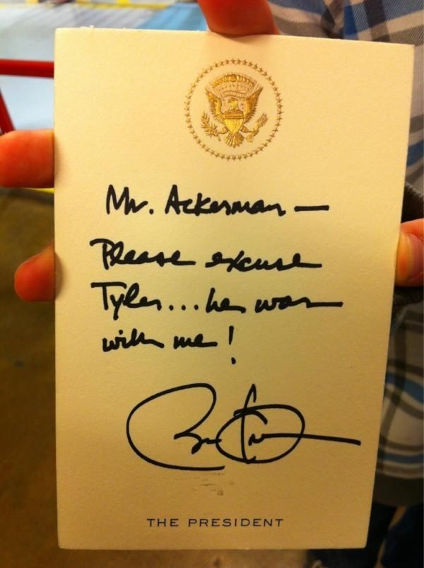 president barack obama writes a fifth-grader an awesome absence note! {best absence note ever!!!}