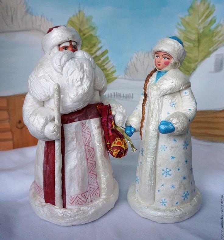 Купить Дед Мороз и Снегурочка - Дед Мороз и Снегурочка, дед мороз, снегурочка, Папье-маше