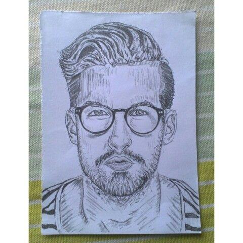 Man with round glasses illustration