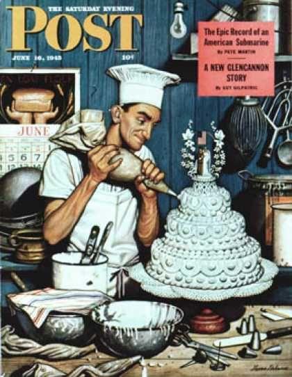Saturday Evening Post - 1945-06-16: Icing the Wedding Cake (Stevan Dohanos)