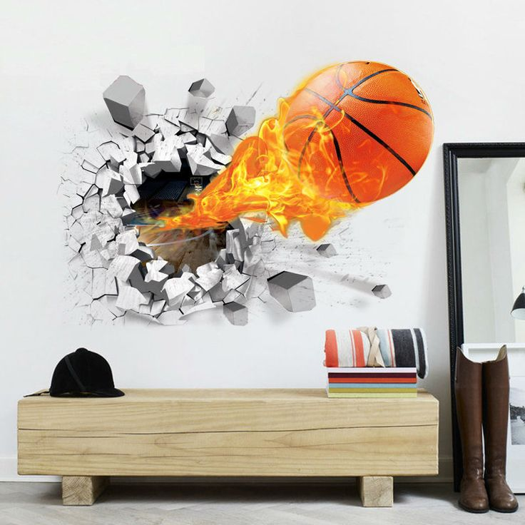This Basketball Wall Sticker Is On Fire!! The Sticker Is Removable And  Reusable.