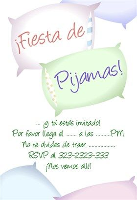 """Fiesta De Pijamas""  printable invitation template. Customize, add text and photos. Print or download for free!"