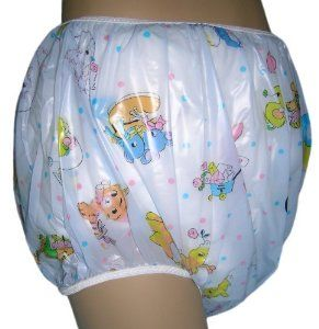 Baby Pants Blue Carousel Print Adult Pullon Plastic Pants - Medium by Baby Pants. $14.95. Medium Size waist min. 24 - 44 inch max stretched, crotch 12 inches, leg min. 17 - 25 inch max stretched.. Best fit loose and blouse over diaper, cut full with a wide crotch to accommodate bulkier cloth diapers.. Heat welded side seams, snug comfortable waist and leg bands for a highly effective moisture barrier.. Premium quality 4 mil durable plastic .. Full range of sizes (Smal...