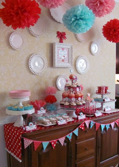 Hello Kitty party: Kitty Birthday, Birthday Parties, Red Aqua, Kitty Party, Colors Schemes, Parties Ideas, Pom Pom, Parties Theme, Hello Kitty Parties