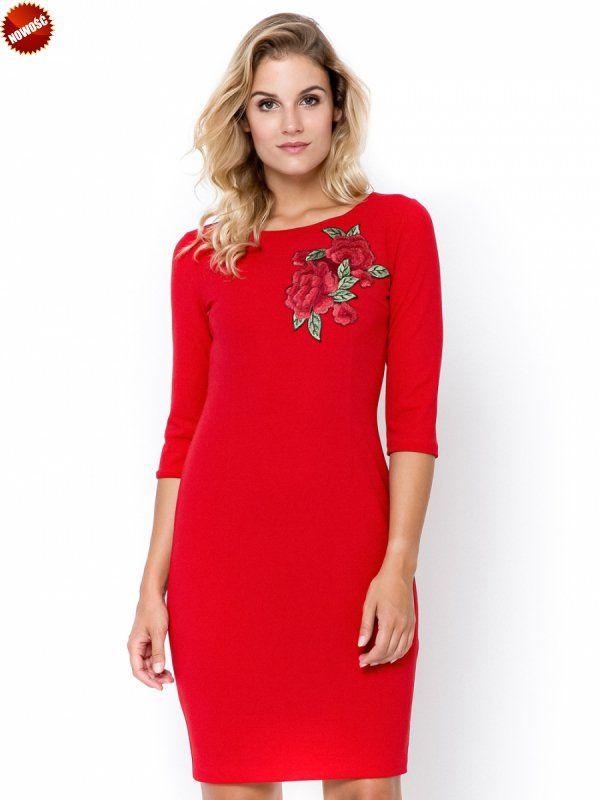 ff0e7e8028 Czerwona sukienka plus size XXL z haftem w kwiaty. Sukienki duże rozmiary  od 40 do