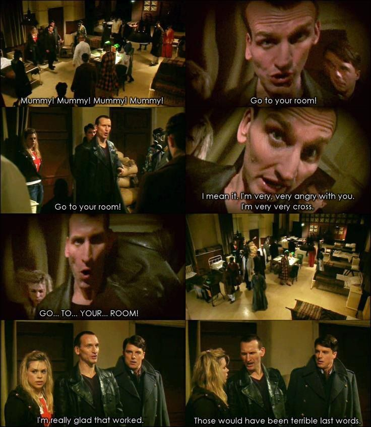 "One of my favorite moments with the 9th Doctor. ""Those would've been terrible last words."""