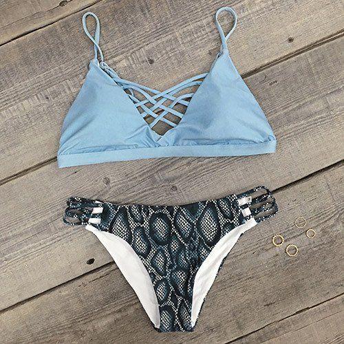 Cupshe Salty Seabreeze Lace Up Bikini Set