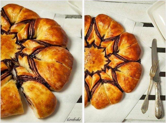 Star with nutella yeast, bun from  #cake #cooking #chocolate #tea #nutella #yeast #danishes