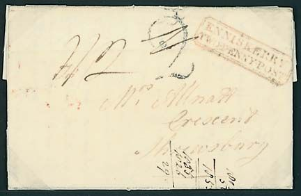 """RARE RED BOXED """"ENNISKERRY/TWOPENNY·POST"""" COVER 1826 EL with v. fine double-boxed """"ENNISKERRY/TWOPENNY·POST"""" mark (light crease) nicely placed on the front with Dublin handstruck """"2"""" charge-mark alongside"""