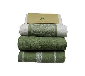 "Kitchen Towel, Dish Cloth By Lintex, Sage, Green, Set of 3, 18""x28"", 100% Cotton, Set Includes ""Cook"" Print, Solid and Striped Towels - Visit to see more options"