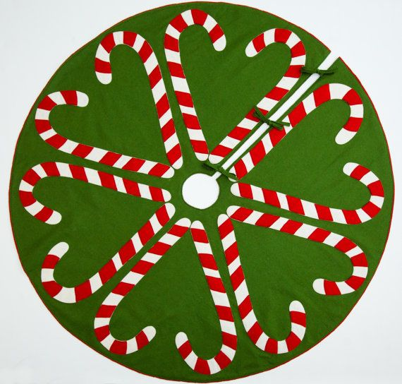 Fieltro de lana hecho a mano árbol de Navidad falda: Celebrarlo con Candy Cane corazones vacaciones!