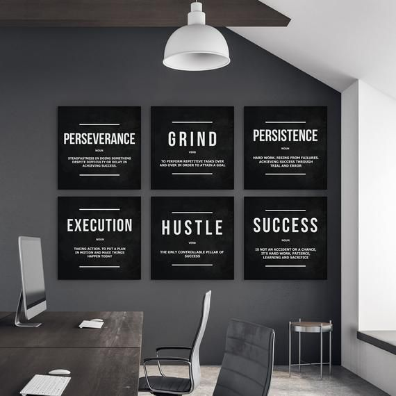 6 Piece Office Decor Motivational Wall Art Canvas Prints Grind Hustle Success Execution Persistence Office Ideas For Work Work Office Decor Male Office Decor