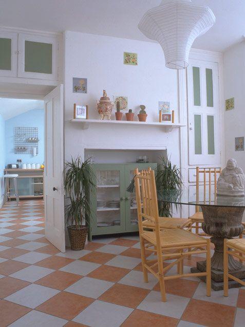 Floor Orange Checker White And Terra Cotta Colored Ceramic