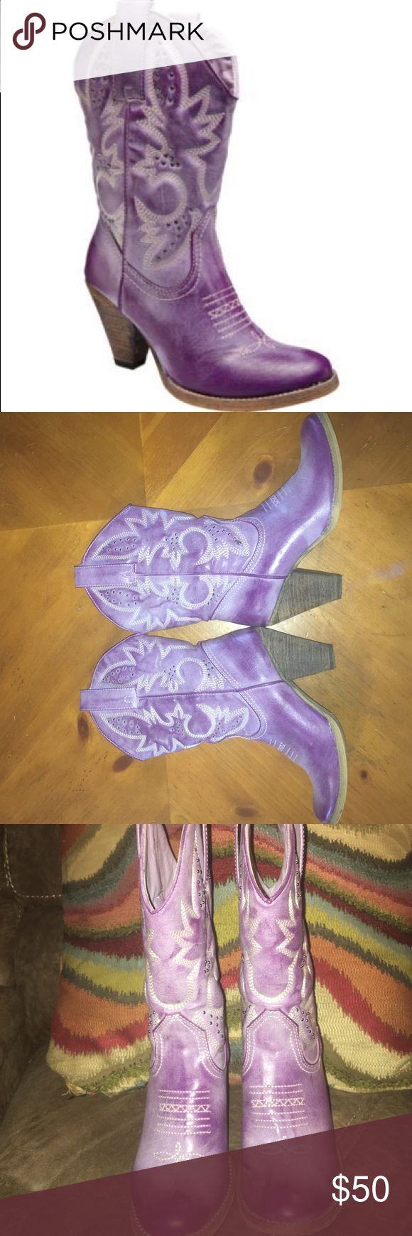 Very volatile lavender/purple cowboy boots If you live anywhere in the south and attend Mardi Gras parades these are perfection. They have been worn less than five times and are so extremely comfortable. I paid a lot of money for these but just don't get a lot of wear out of them. My loss is your gain. No damage whatsoever. very volatile Shoes Heeled Boots