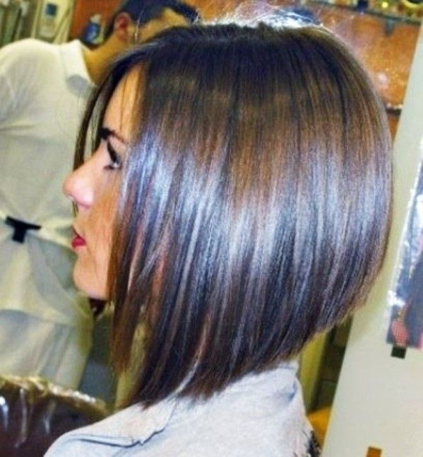 Long angled bob hairstyles side view