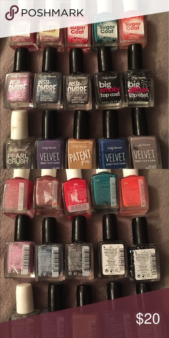 Lot of 15 Sally Hanson Nail Polish Most of these are brand new or used maybe once! 5 Sugar coats, 1 Pearl Crush, 3 Insta-ombré, 3 Velvet Texture, 1 Patent Gloss, 1 Big Glitter Top Coat and 1 Big Smoky Top Coat. Sally Hansen Makeup