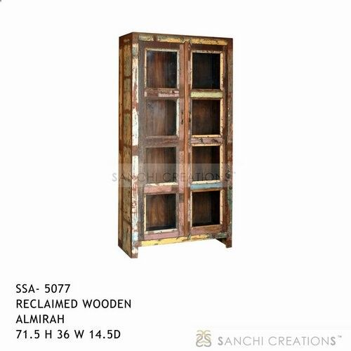 Reclaimed wooden almirah Reclaimed wooden almirah four shelves with glass door intended to stand at the side of a dining room living room,bed room. Reclaimed wooden almirah has been used as a bookcase also. This highly functional Almirah is the perfect room accessory. The wooden almirah is an exquisite product in its own right. www.sanchicreatio...
