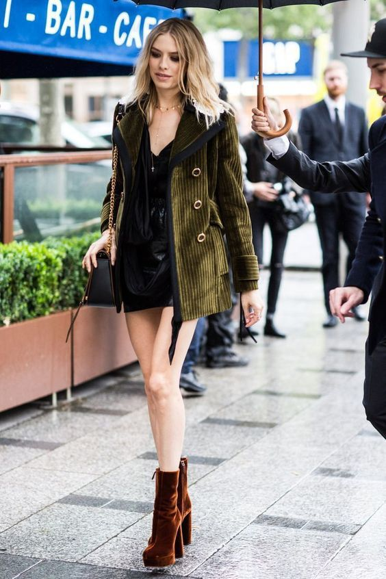 Top| Cami| Black| V neck| Plunging neckline| Tucked in| Skirt| Leather| Mini| Short| Leg| Jacket| Coat| Green| Velvet| Long sleeve| Necklace| Gold| Boots| Ankle| Booties| Orange| Close toed| Fall| Autumn| P909