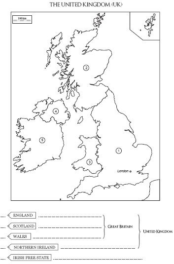 Carte à compléter et à colorier du Royaume-Uni, de l'Angleterre et de l'Irlande | Découvertes de SitesPE | Scoop.it