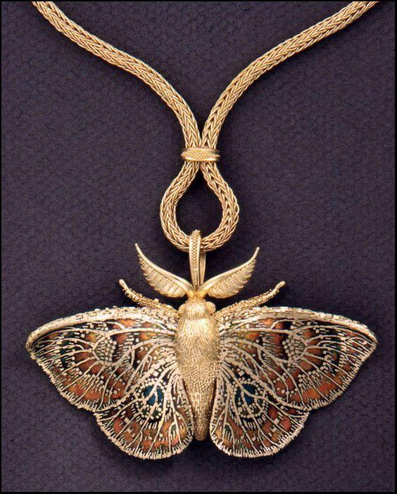 "treasures-and-beauty:  "" Nouveau moth necklace – John Paul Miller  """