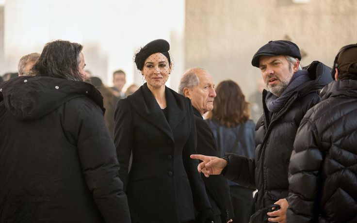 Bellucci on set with SPECTRE director Sam Mendes