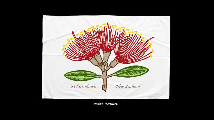 Gorgeous NZ Pohutukawa Flower (the NZ Christmas Tree) T-towel available from davebelldesign@gmail.com