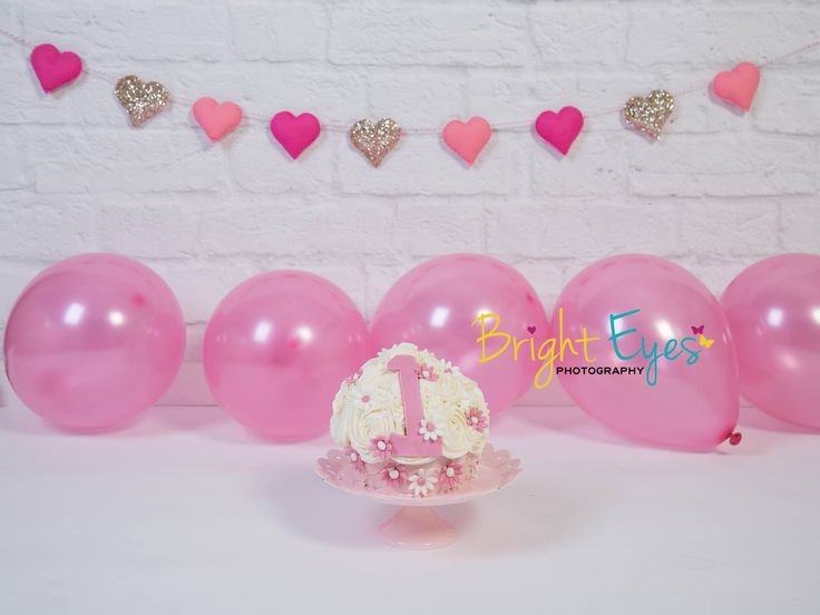 pink hearts theme with pale pink balloons