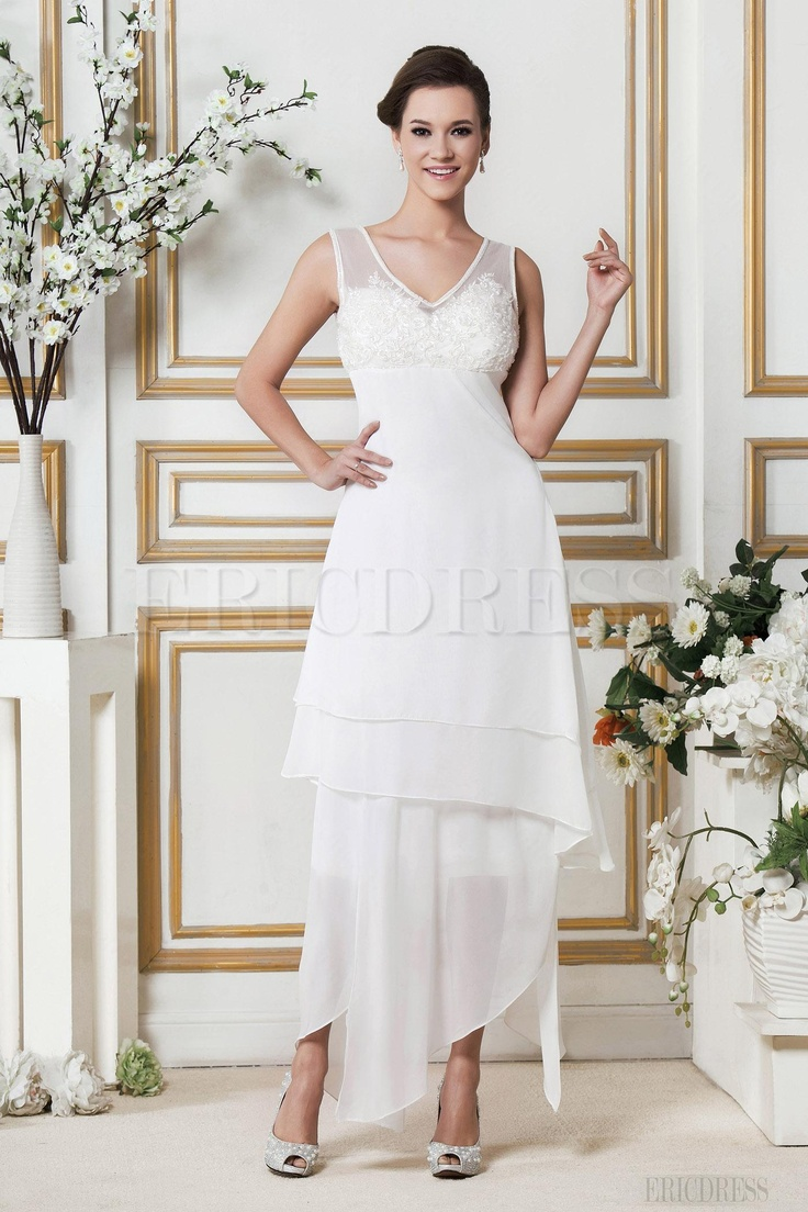Amazing A Line V Neck Asymmetry Zipper Up Beach Wedding Dress