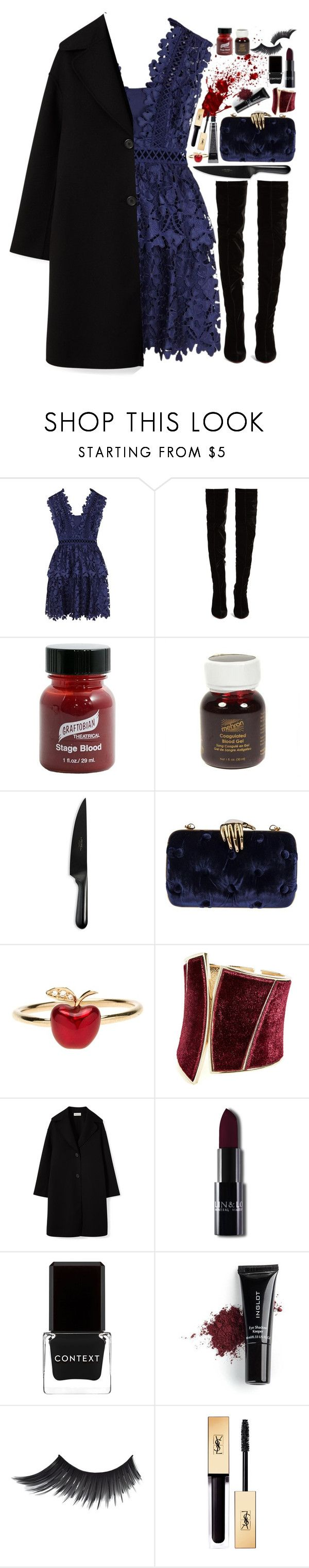 """Halloween."" by ellie-directioner ❤ liked on Polyvore featuring self-portrait, Christian Louboutin, Graftobian, Mehron, Chicago Cutlery, Benedetta Bruzziches, Alison Lou, GUESS by Marciano, Context and Inglot"