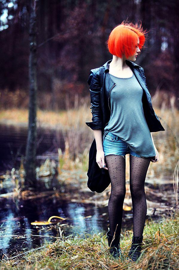 Black polka dot tights, denim shorts, grey t-shirt…